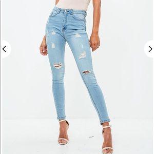 Blue skinner high waisted skinny jeans